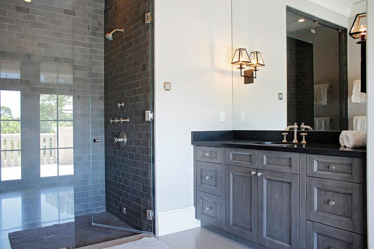 Gray Wash Bath Vanity With Black Granite Transitional