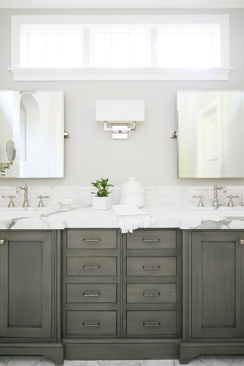 Light Taupe Bath Cabinets With Gray Floor Tiles Transitional Bathroom