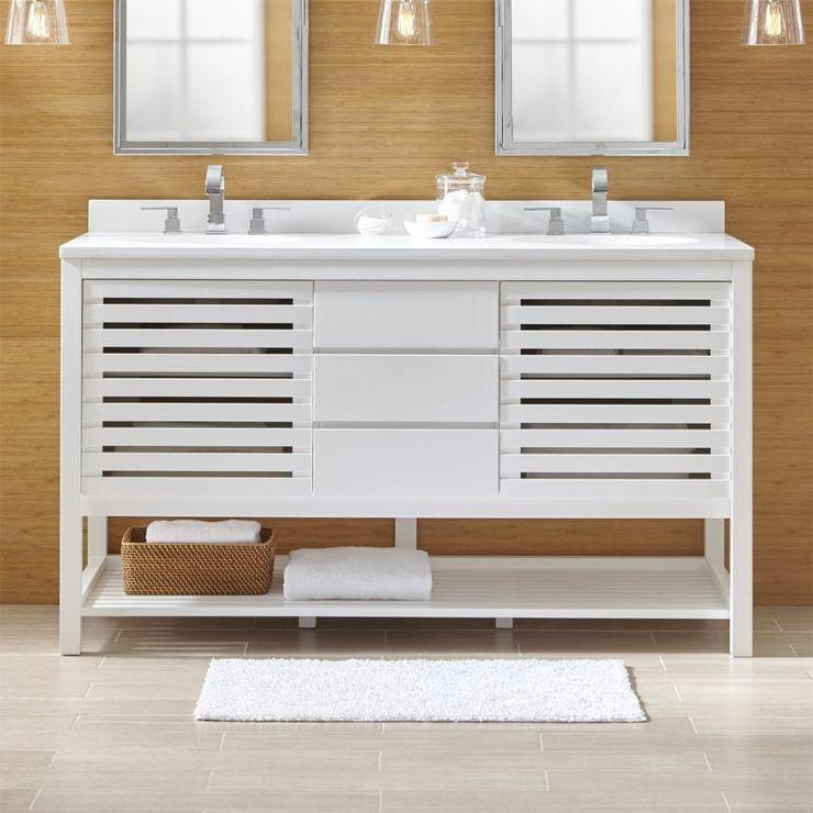 Banya White Quartz Slated Double Vanity Set