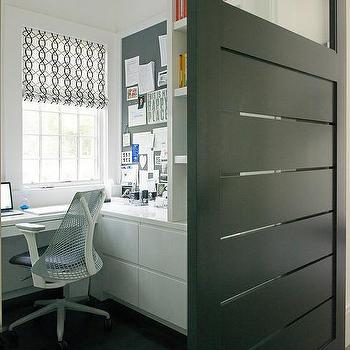 Black Slatted Office Door On Rails