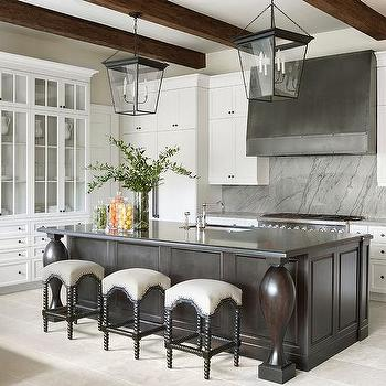 Espresso Stained Island With Black Abacus Stools