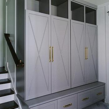 Laundry rooms lacquered gray closed mudroom lockers design for Entryway lockers with doors