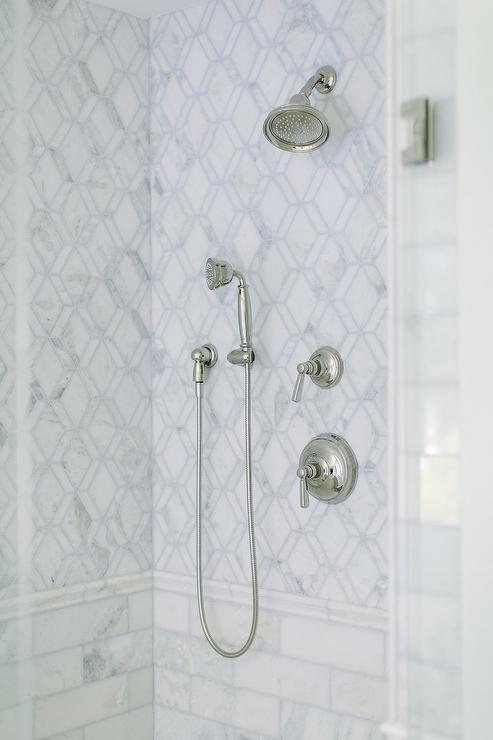 Lower Wall Marble Subway Shower Tiles Design Ideas