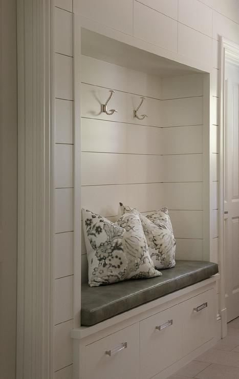 Ivory Beadboard Trim On Back Of Wood Top Mudroom Bench
