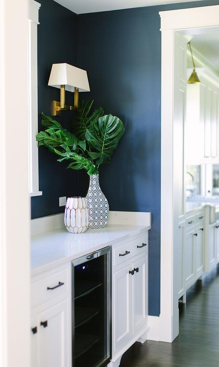 Dark Blue Kitchen Pantry with White Cabinets & Dark Blue Kitchen Pantry with White Cabinets - Transitional - Kitchen