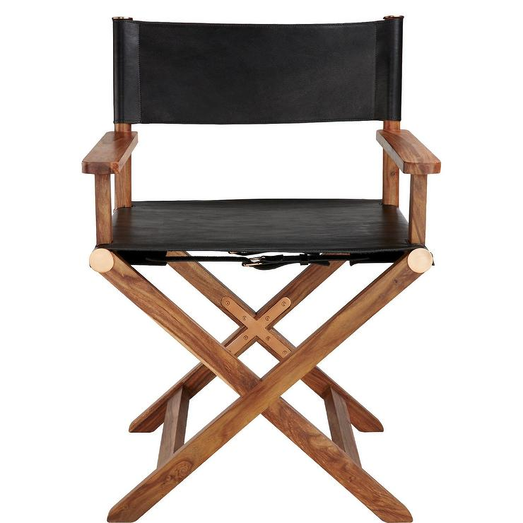 Curator Black Leather Directors Chair