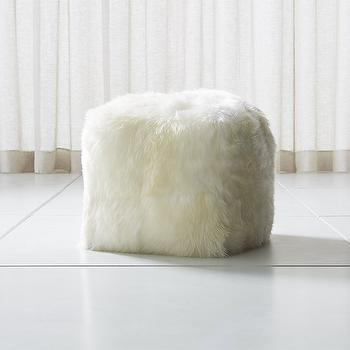 crate and barrel sheepskin ivory square pouf look for less. Black Bedroom Furniture Sets. Home Design Ideas