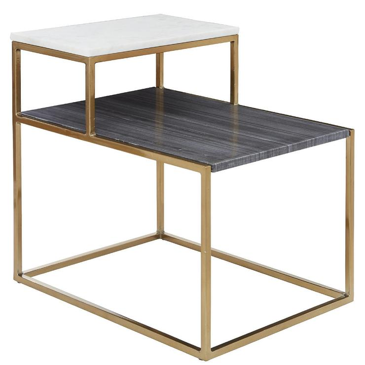 Rectangular Tone Marble Brass Side Table - Black and brass side table