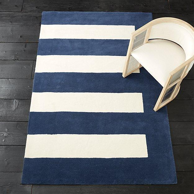 Noren Blue White Striped Rug