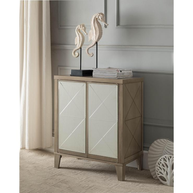 KB Antique Mirrored Wood Door Console Table