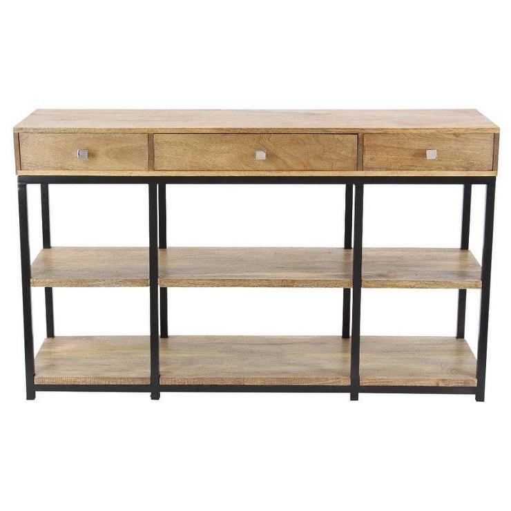 Benzara Antiqued Wood Metal Storage Buffet