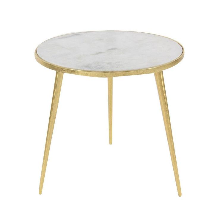 White Marble And Metal Round Accent Table: Circular White Marble Gold Base Accent Table