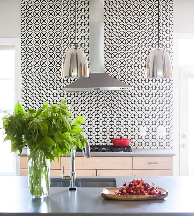 Black And White Atlas Cement Kitchen Wall Tiles Contemporary Kitchen