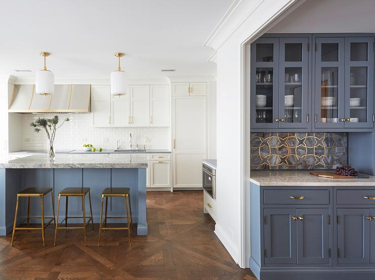 Blue Hutch With Blue Sideboard Transitional Kitchen