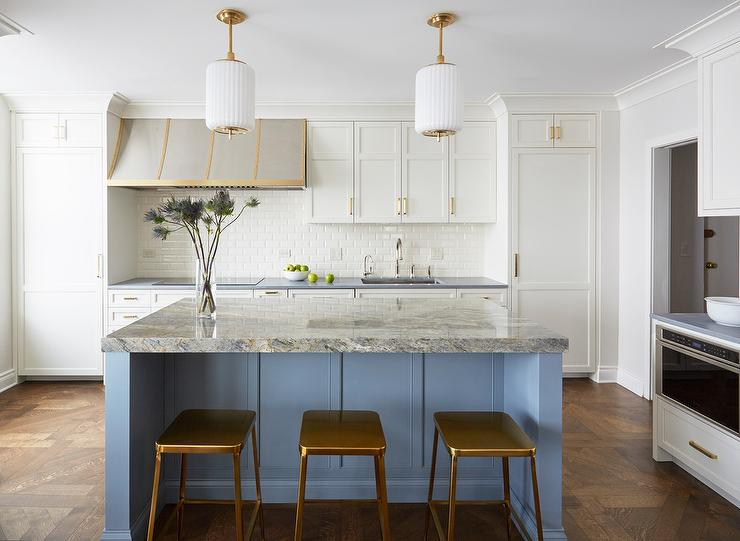 Gold Metal Counter Stools With Blue Island Transitional