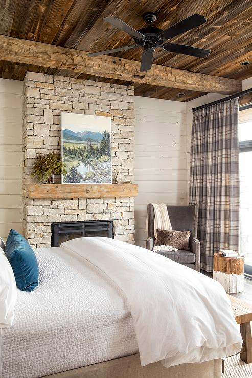 Rustic Cabin Bedroom with Gray Plaid Curtains - Country ...