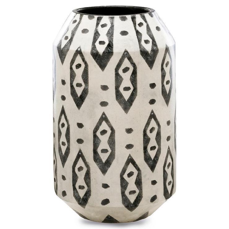 Large Diamond Dot Black White Vase