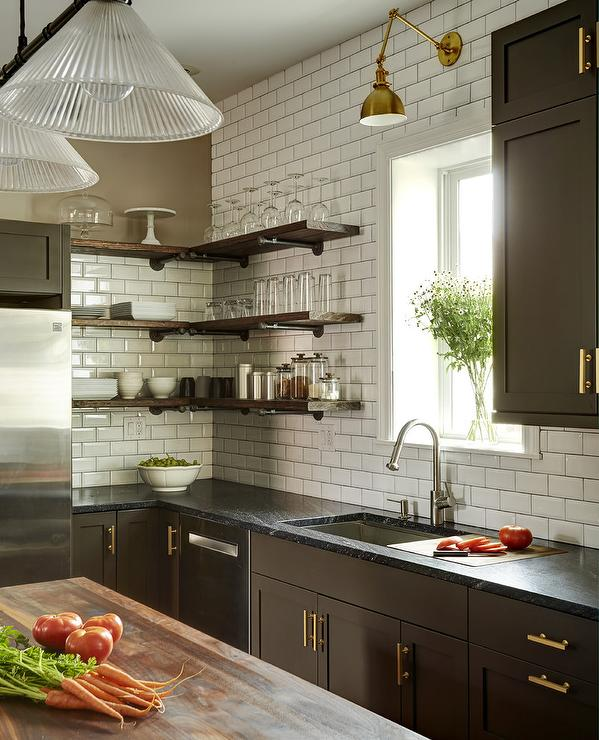 Espresso Kitchen Cabinets With Gold Pulls Transitional Kitchen