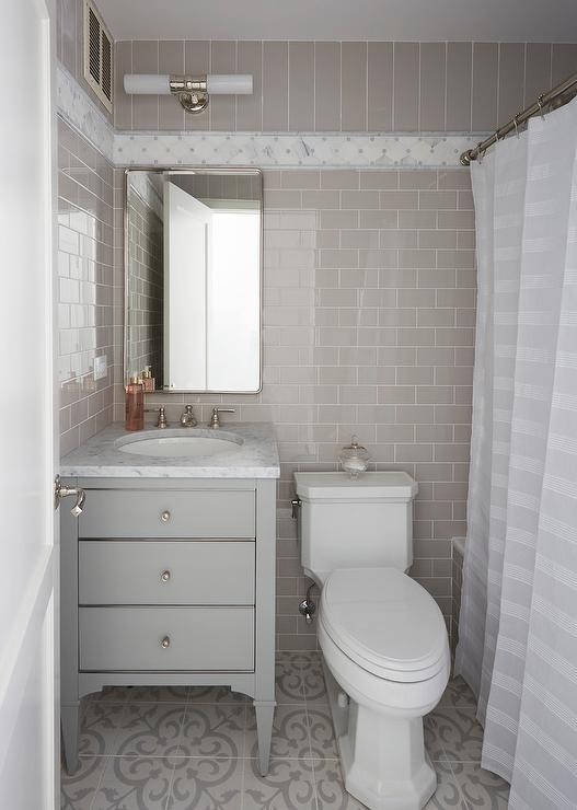Gray Guest Bath With Cement Tiles