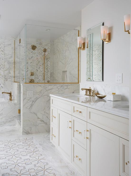 Ivory Bath Vanity Cabinets With White Quartz Countertop