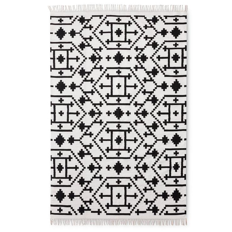 Black And White Tassel Rug: Kilim Geometric Black White Fringed Rug
