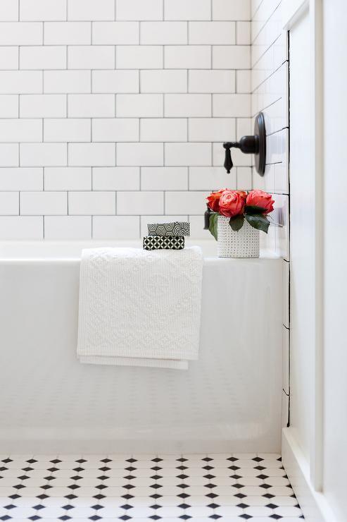 Black Diamond Inlay Tiles Transitional Bathroom