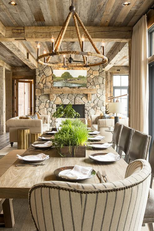 Rope Candelabra Chandelier With Long Wood Dining Table