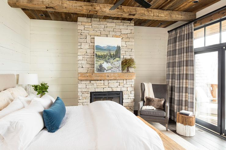 Rustic Cabin Bedroom With Gray Plaid Curtains