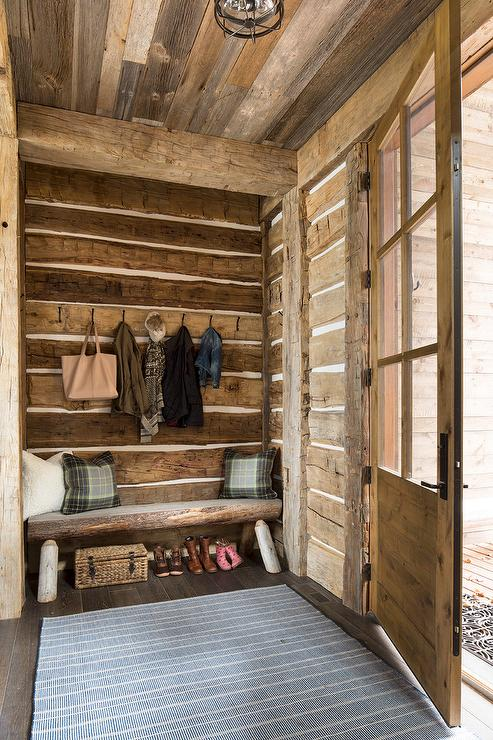 Rustic Cabin Mudroom With Bench Country Laundry Room