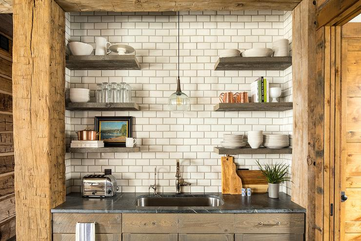 Glass Light Over Kitchen Sink in Rustic Kitchen - Country - Kitchen