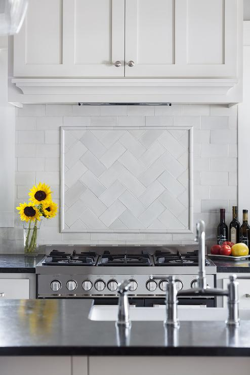 White Glass Herringbone Cooktop Tiles Transitional Kitchen