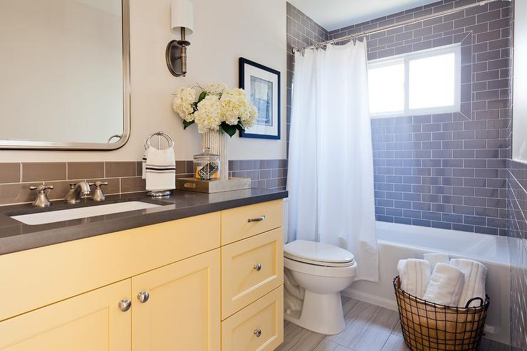 Yellow Bath Vanity With Gray Quartz Countertop