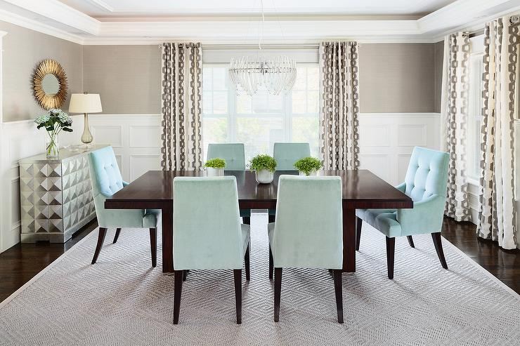 Lovely Aqua Blue And Gray Dining Room Is Furnished With A Dark Brown Table Surrounded By Chairs Placed On Diamond Pattern Rug