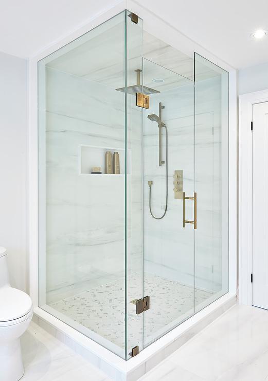Square Brass Rain Shower Head Over Marble Herringbone Shower Floor Transitional