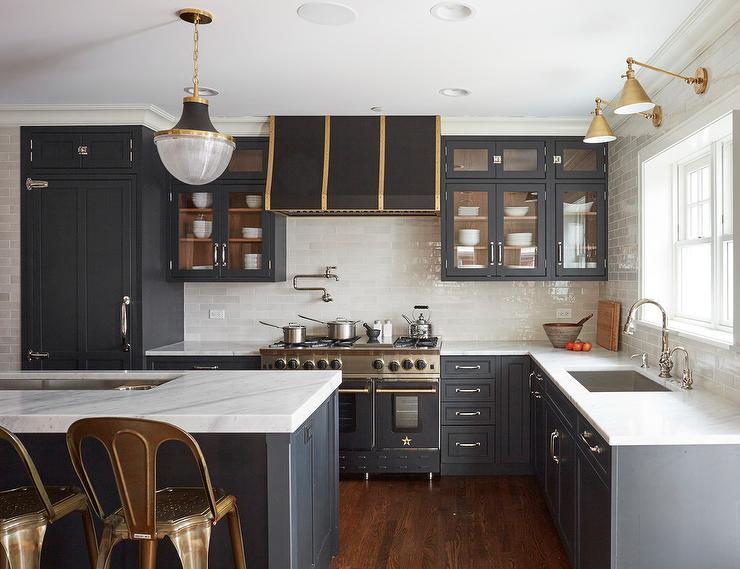 ea431652870 Gold Straps on Black Kitchen Vent Hood - Transitional - Kitchen
