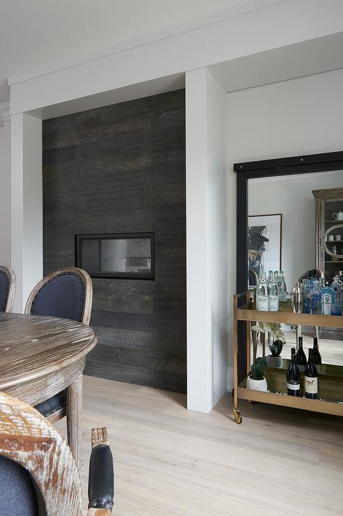Dark Stained Oak Plank Wall Fireplace