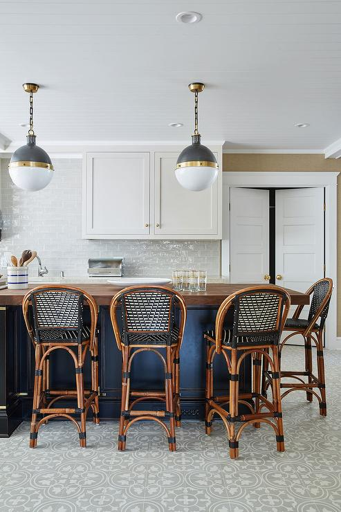 Black Kitchen Island With CB2 Vapor Counter Stools And