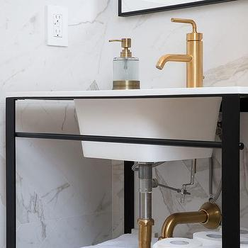 Metal Framed Bathroom Mirrors. Black And White Powder Room With Brushed Gold Faucet