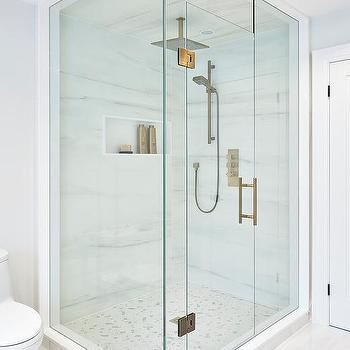 Square Brass Rain Shower Head Over Marble Herringbone Shower Floor