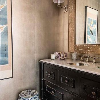 Small Powder Room Foil Wallpaper