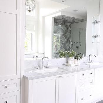 'White Master Bath with Gray Floors' from the web at 'https://cdn.decorpad.com/photos/2017/07/13/m_gray-staggered-bathroom-floor-tiles.jpg'