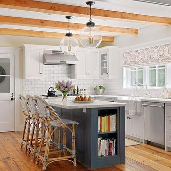 White Kitchen With Green Industrial Pendants And Gray
