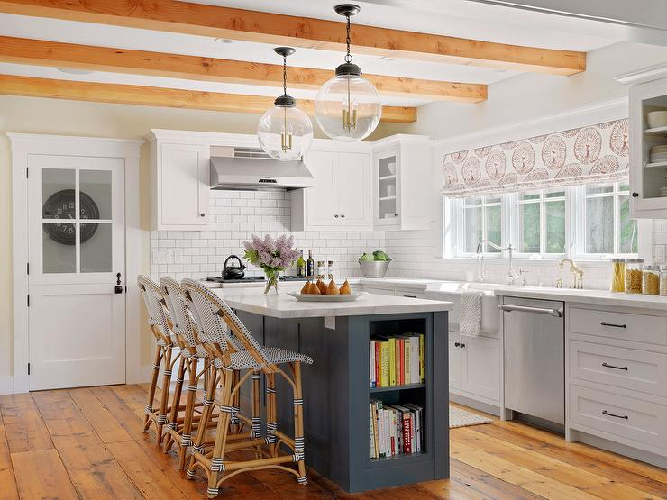 Blue Island With White Slipcovered Counter Stools