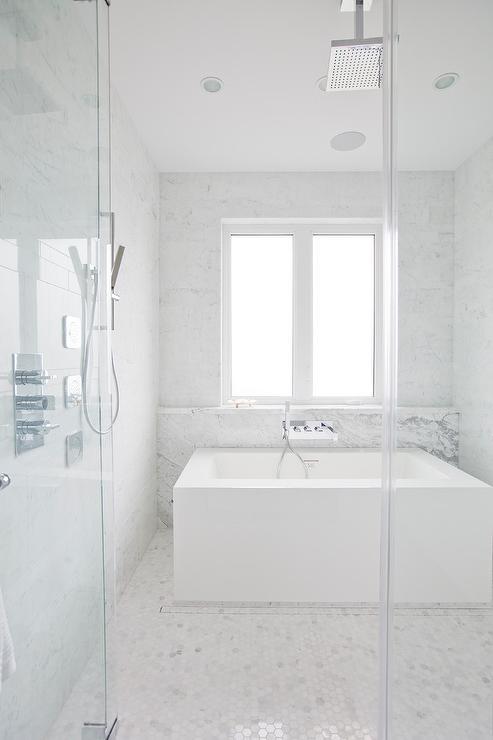 Modern Tub in Large Walk In Shower - Transitional - Bathroom