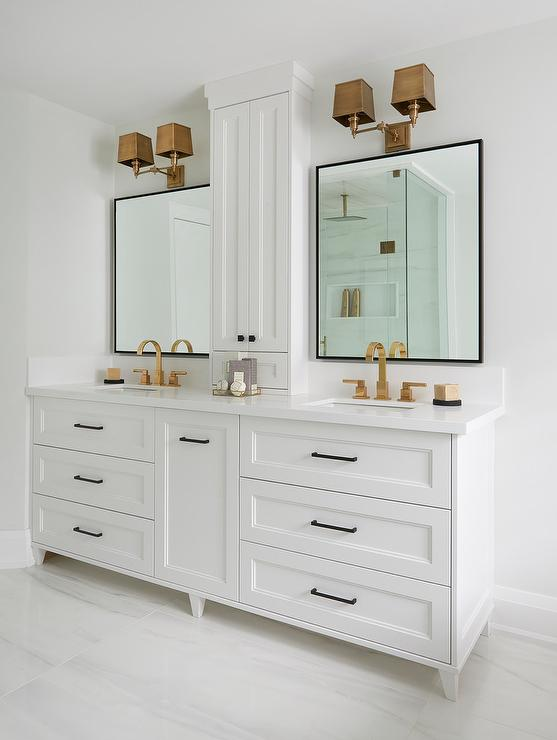 Brass Sconce With Black Vanity Mirror Transitional