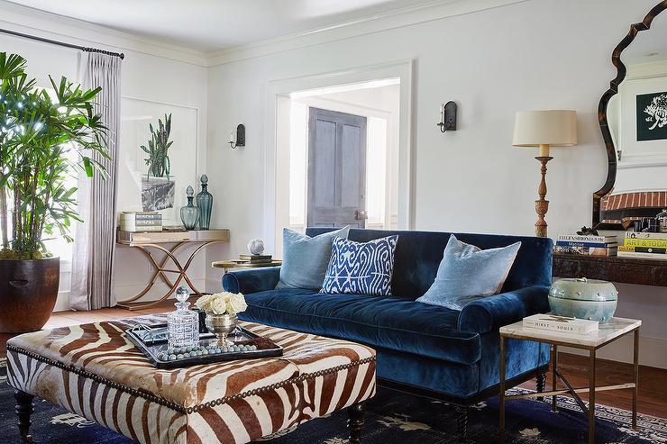 Jewel Blue Velvet Roll Arm Sofa With Sky Blue Pillows