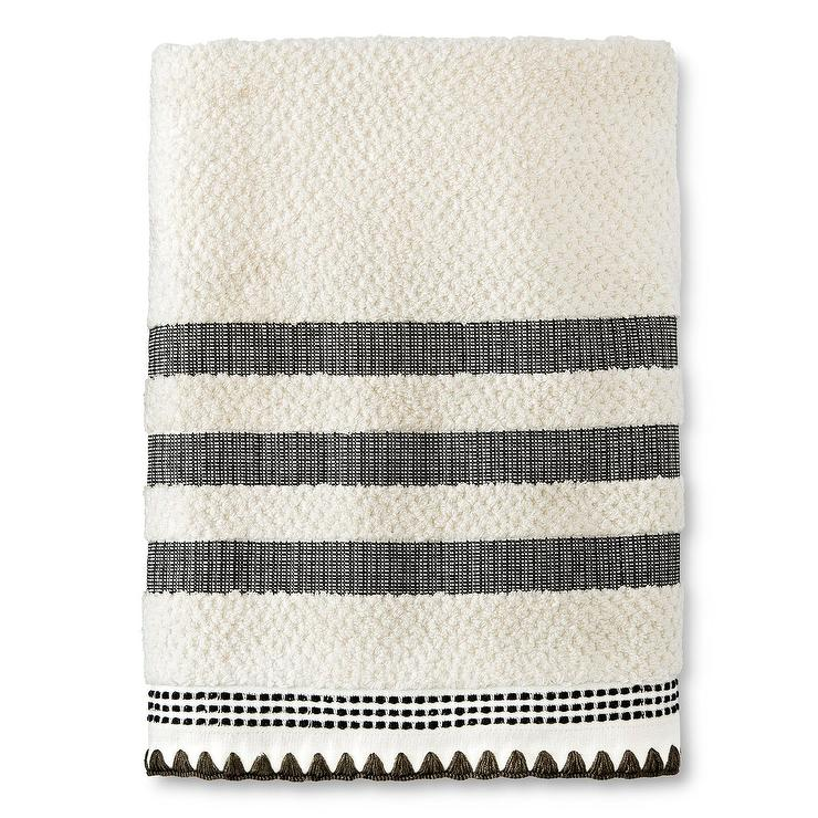 Cream Black Striped Embroidered Bath Towel