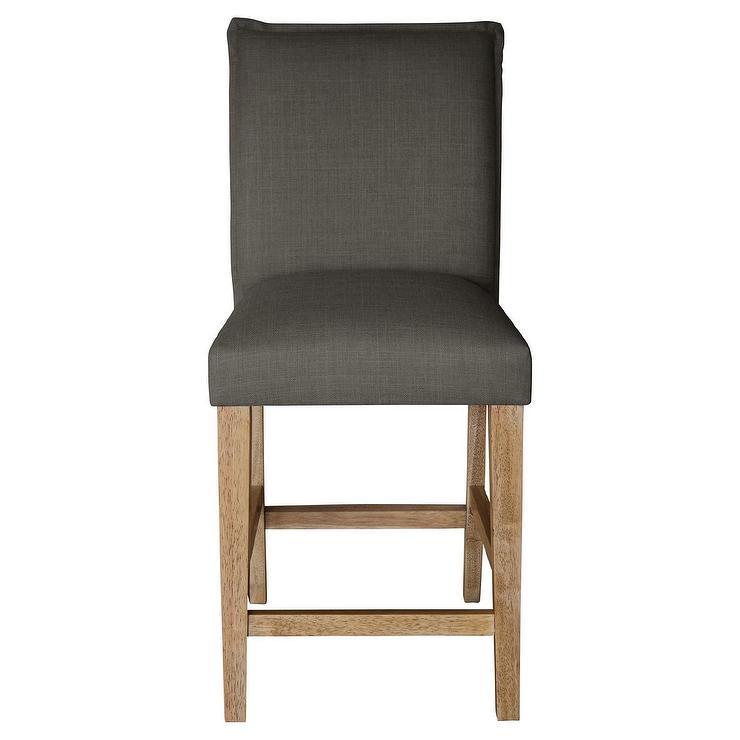 Gray Upholstered Black Legs Kelly Stool