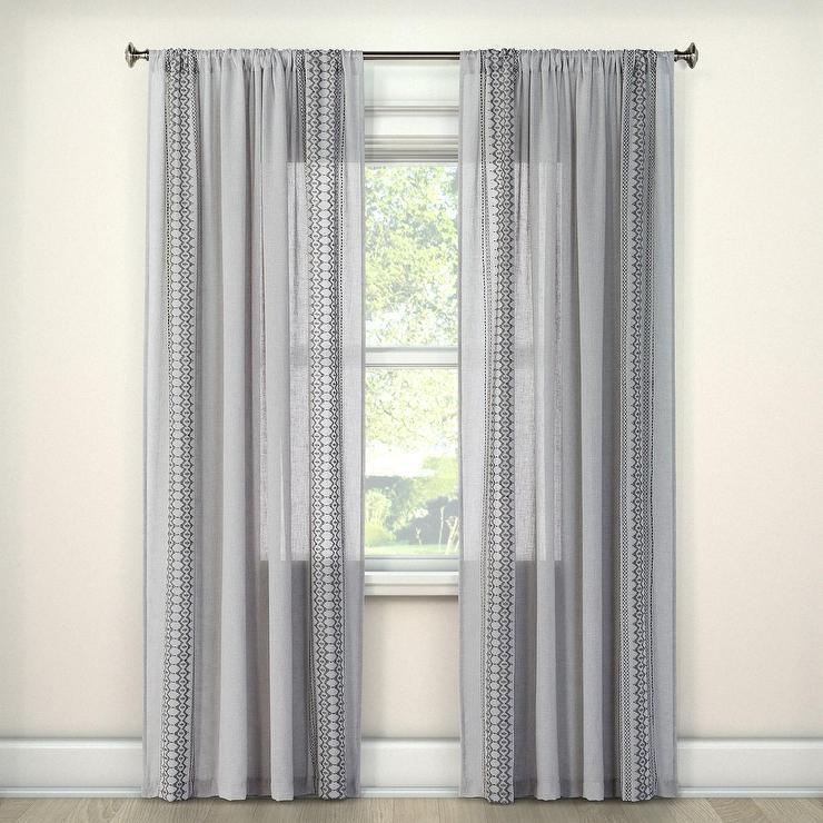 Beige Linen Weave Curtain Panel