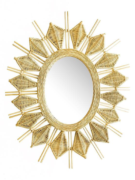 Finest Yala Woven Wicker Sunburst Wall Mirror LS42